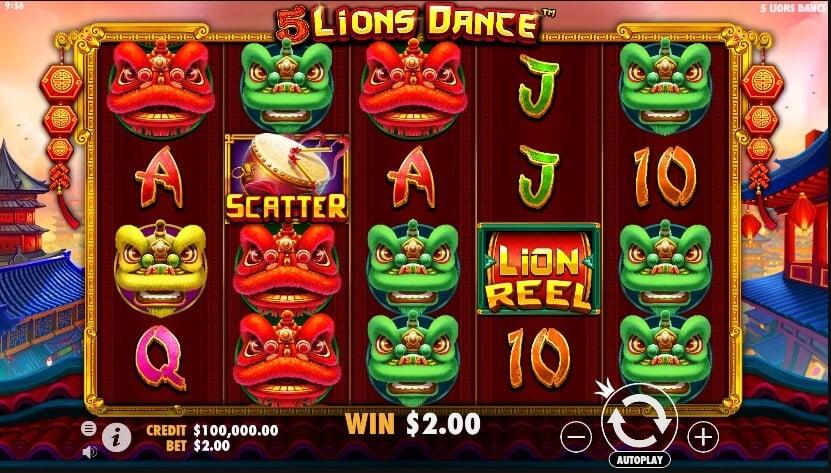 5 lions dance slot review