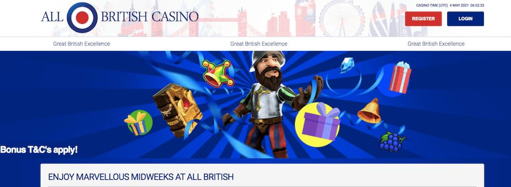Existing player bonus at All British Casino