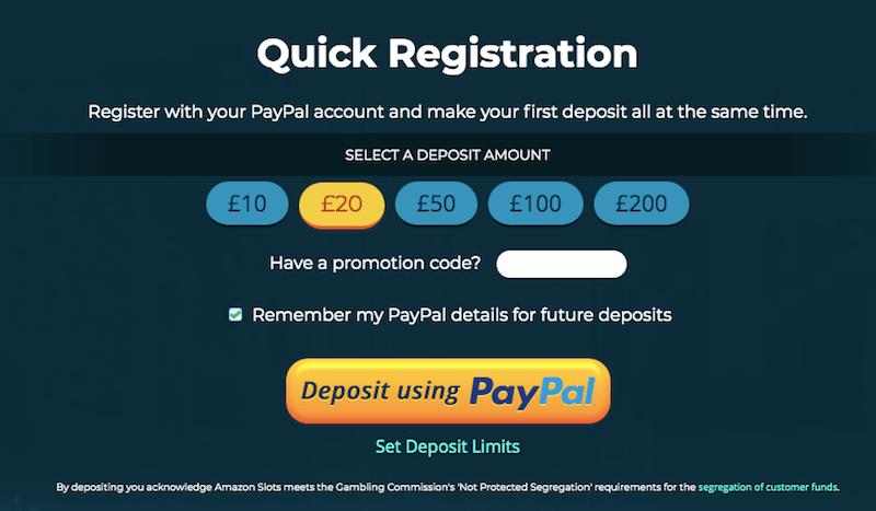 Amazon Slots PayPal registration