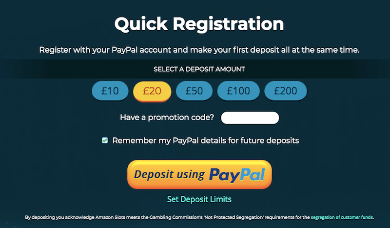 Amazonslots Registration