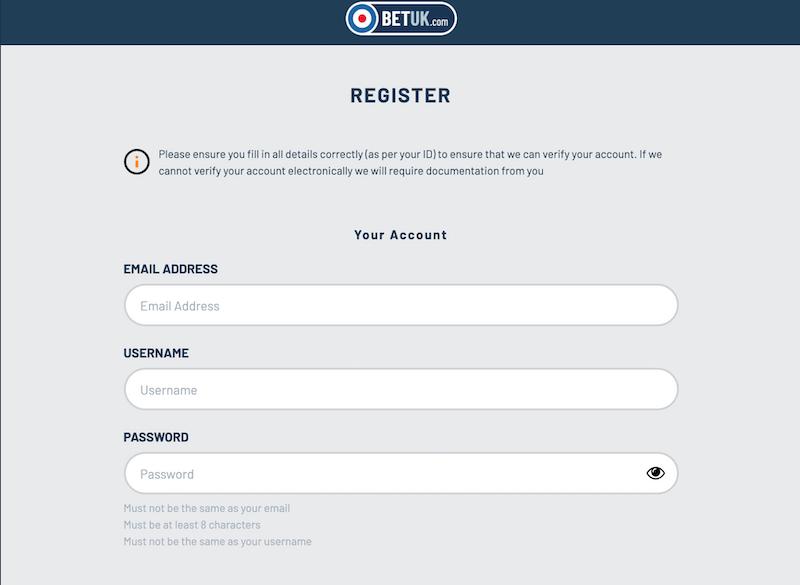 Bet UK - register
