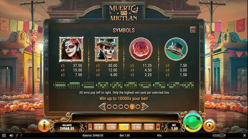 Muerto En Mictlan Paytable - Higher Paying Symbols