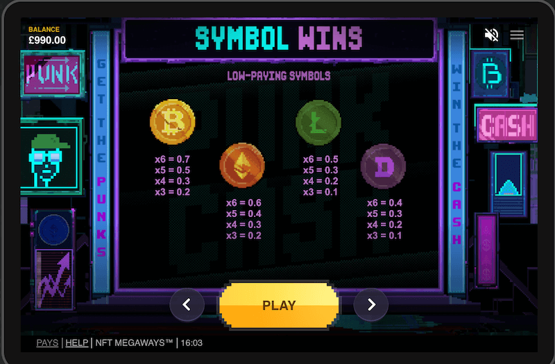 NFT Megaways - Lower paying symbols