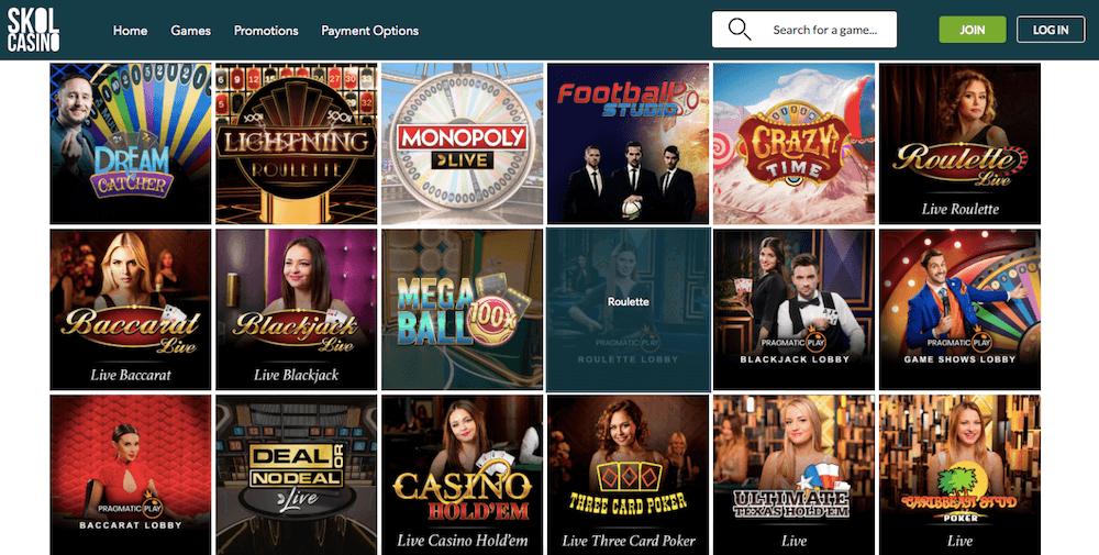 Skol Casino live games