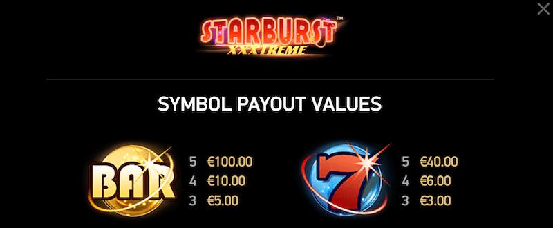 Starburst XXXtreme - paytable