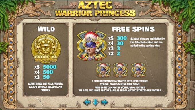Play Aztec Warrior Princess slot at Dunder Casino