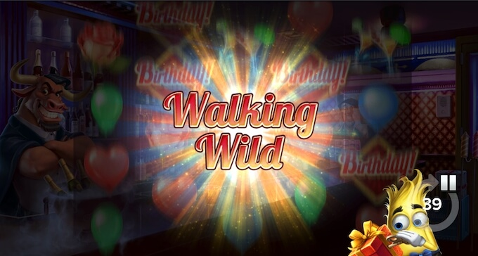 Birthday slot walking wilds feature