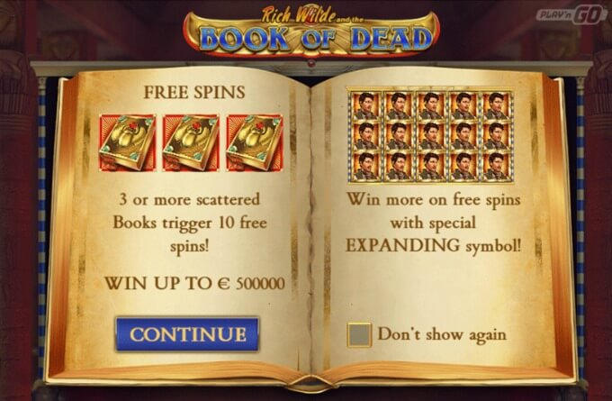 Play Book of Dead slot at Dunder casino