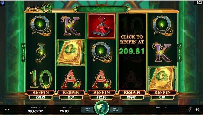 Book of Oz slot features