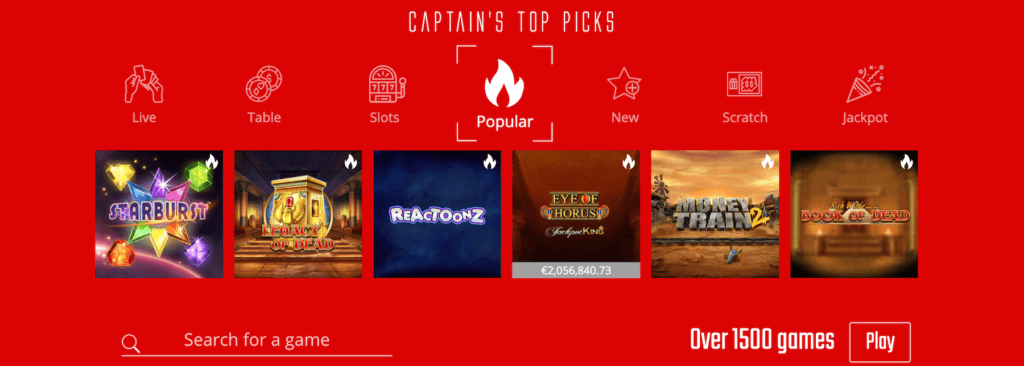Captain Spins Games Top Picks