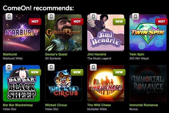 ComeOn! casino games