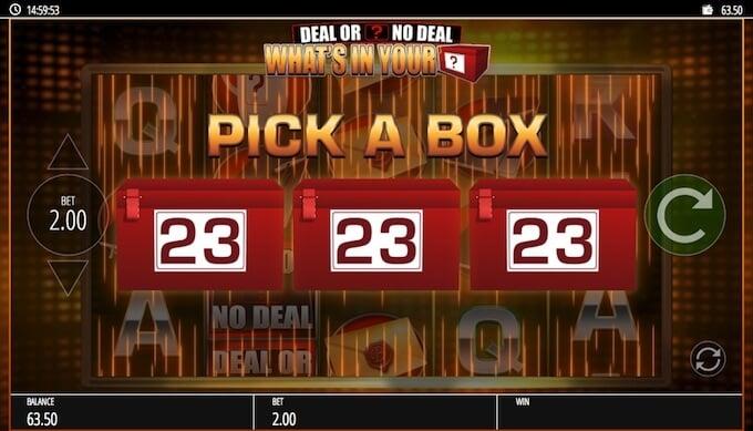 Deal or No Deal Pick the Box bonus