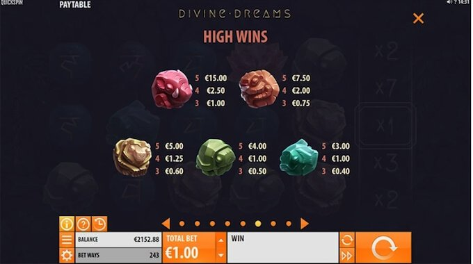 Divine Dreams slot symbols