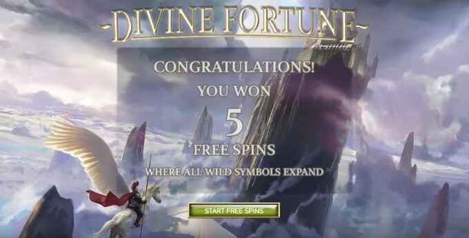 Play Divine Fortune slot at Dunder casino