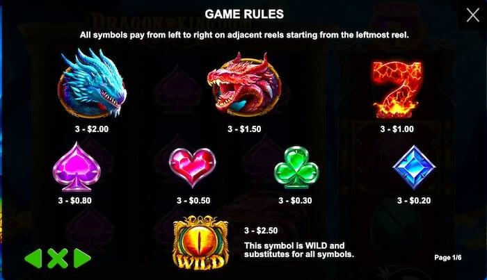 Dragon Kingdom Paytable 1