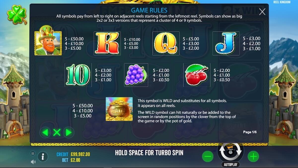 Emerald King Slot paytable