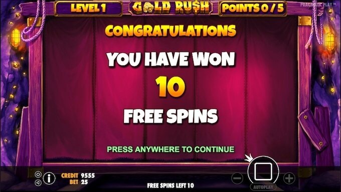 Gold Rush slot free spins