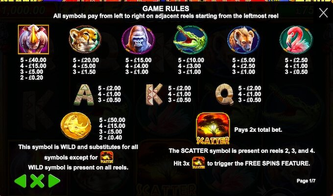 Great Rhino Deluxe slot paytable