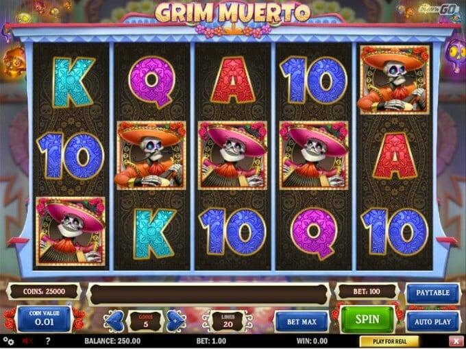 Play Grim Muerto slot at LeoVegas casino