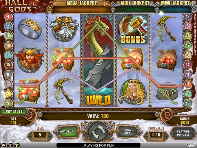 Play Hall of Gods slot on Mr Smith casino