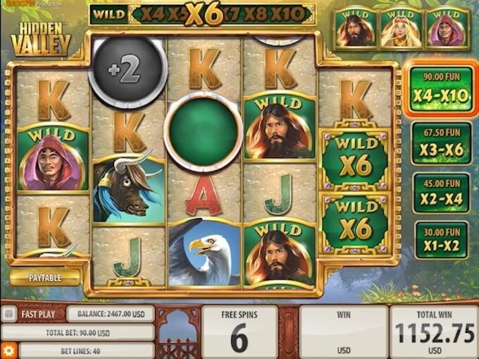 Hidden Valley slot free spins multipliers