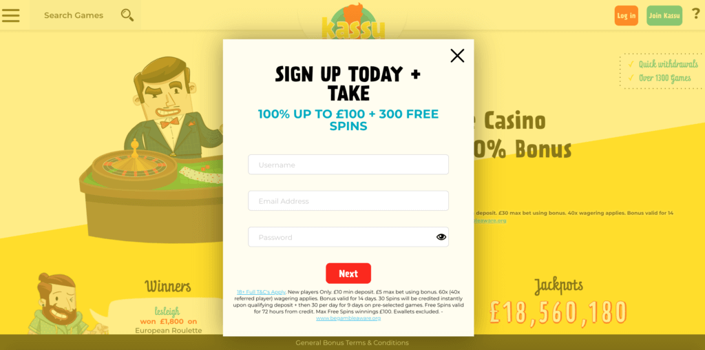 Kassu Casino Registration
