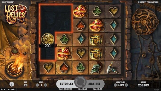 Lost Relics slot Coin win feature