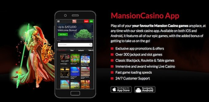 Mansion Casino mobile app