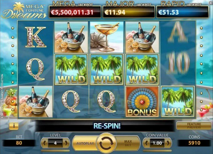 Play Mega Fortune Dreams slot at Mr Green casno