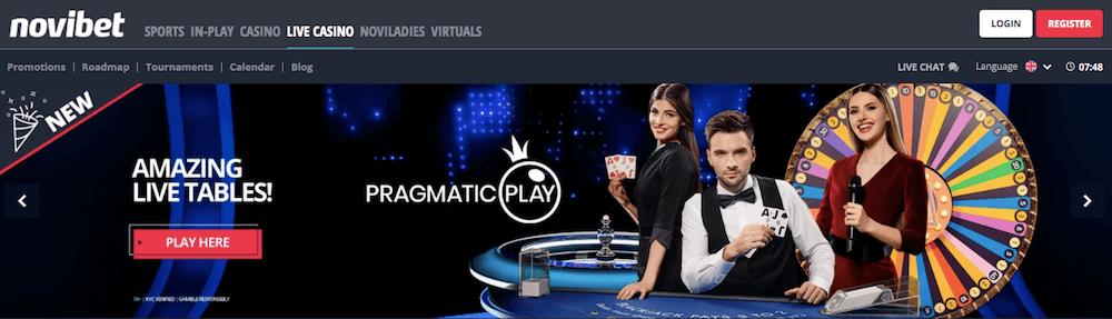 Novibet live casino offers
