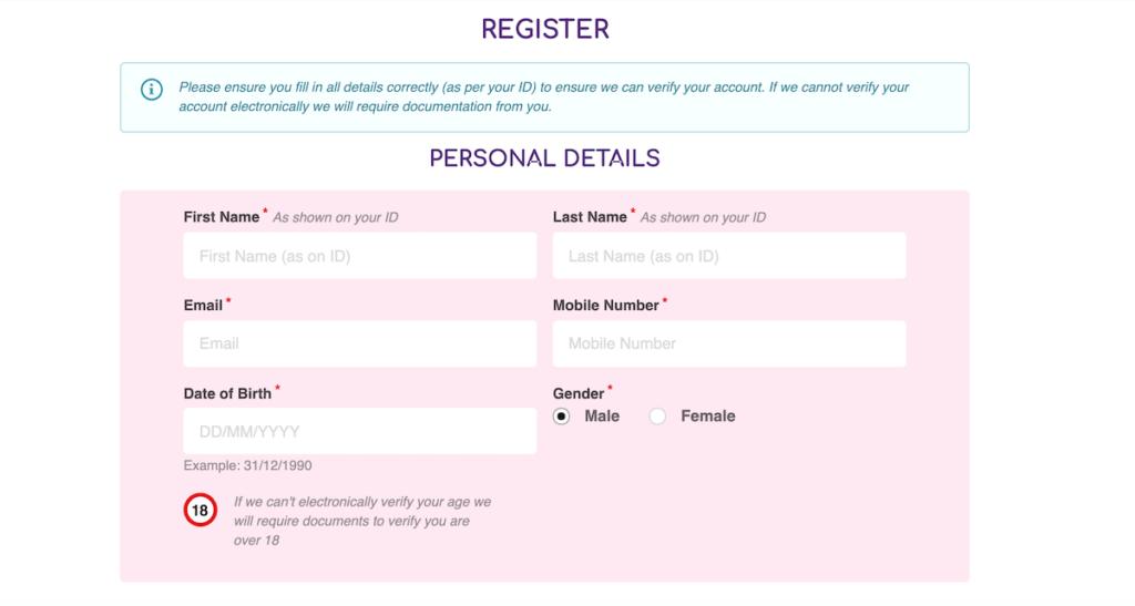 Pink Casino Registration Part 1