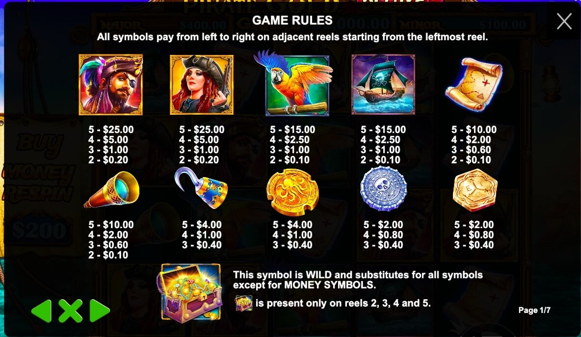 Pirate Gold Deluxe paytable
