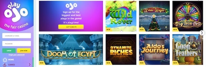 playojo casino UK games