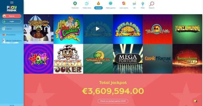 PlayFrank jackpots