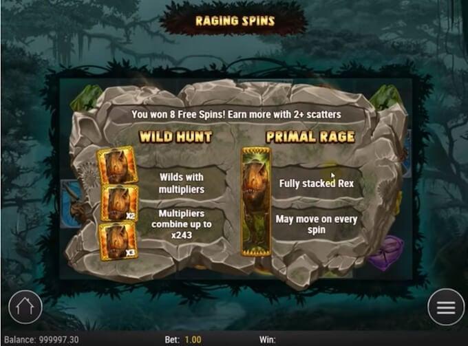 Raging Rex slot free spins
