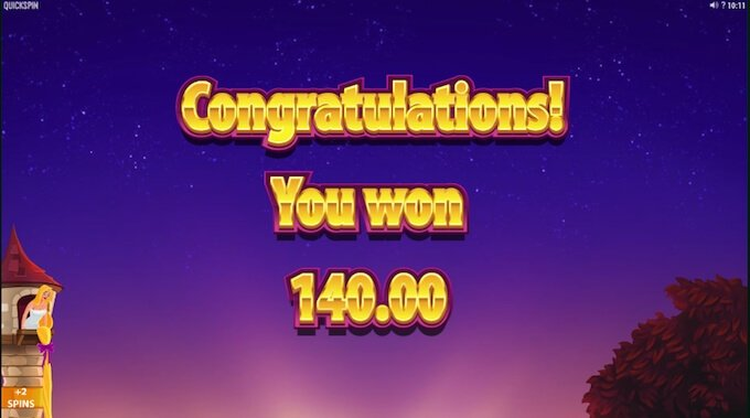 Rapunzel's Tower free spins win