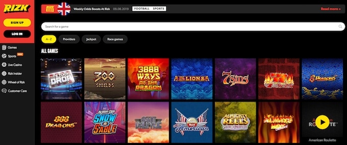 Rizk casino online games