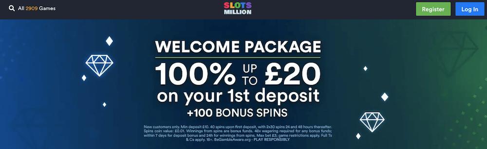 Slotsmillion UK welcome bonus