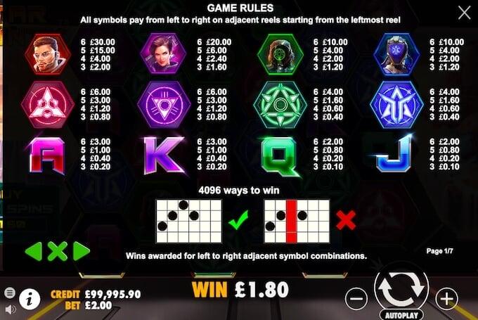 Star Bounty Slot paytable