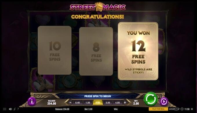 Street Magic slot free spins cards