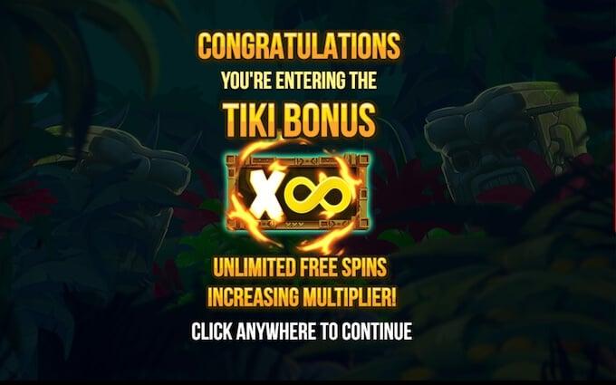 Trigger free spins in Tiki Tumble slot