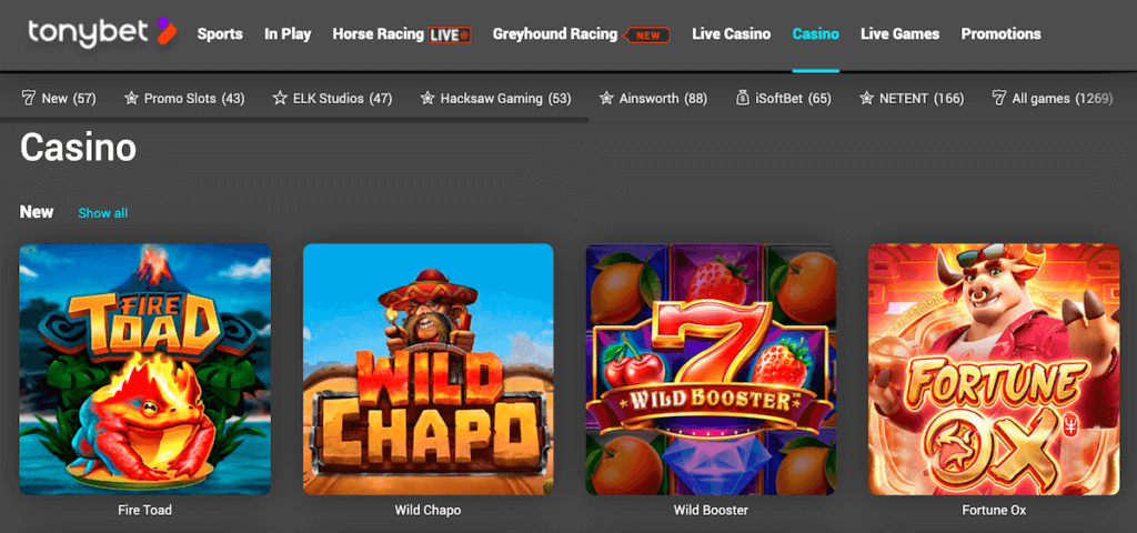 tonybet casino game library