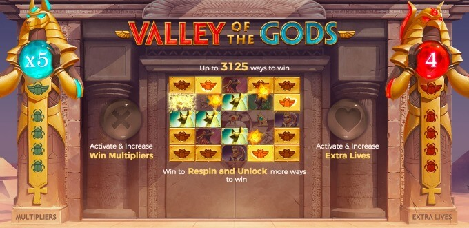 Play Valley of the Gods slot at LeoVegas casino