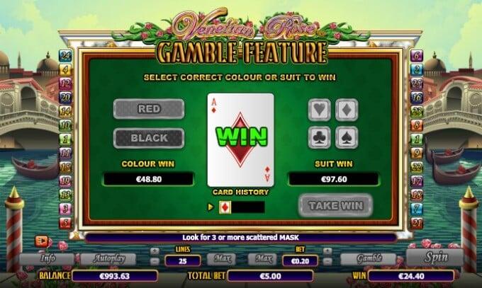 Play Venetian Rose slot at Dunder Casino
