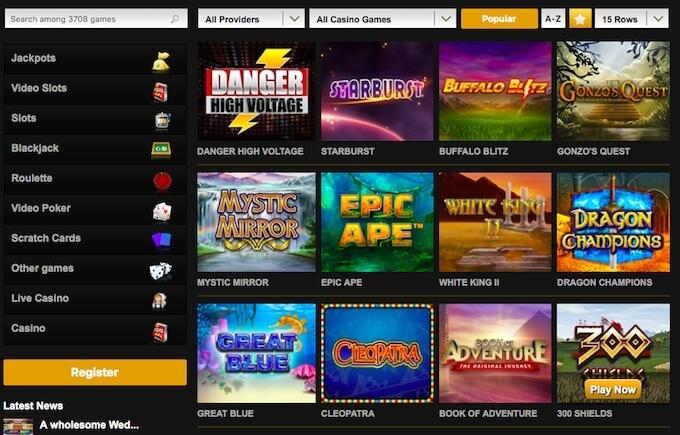 videoslots casino games