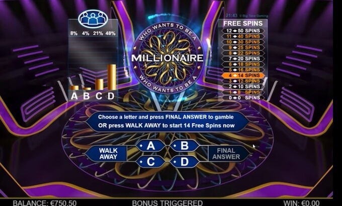 Who wants to be a millionaire megaways bonus