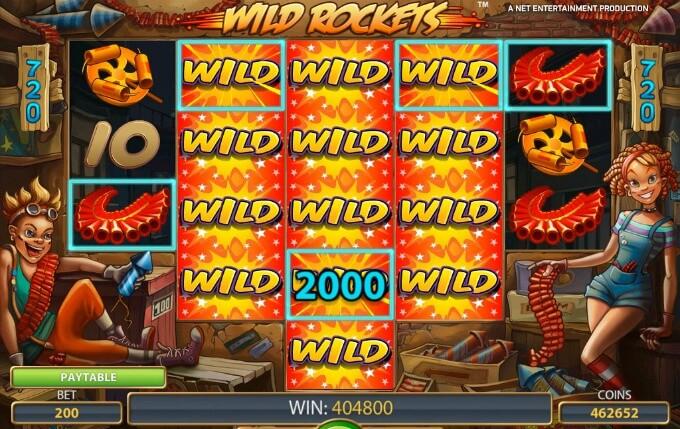 Play Wild Rockets slot at Maria Casino