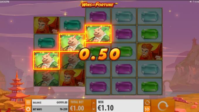 Play Wins of Fortune slot at CasinoCruise